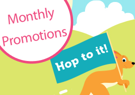 Kangaroo monthly promotions, hop to it